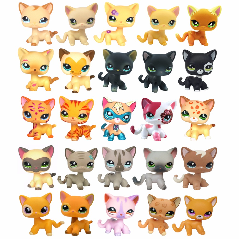 Real pet shop lps toys collections standing short hair cat White 2291 Tabby 1451 Black 2249 dachshund dog 675 collie great dane