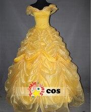 adult women big gown wedding princess belle dress beauty and beast belle cosplay costume Halloween costume yellow belle dress