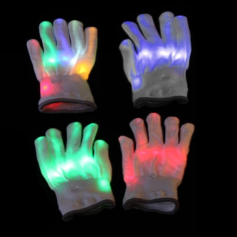 1Pc LED Rave Flashing Gloves 7 Mode Light Finger Lighting Mittens Finger Toys Cloth 20*10cmNew Hot 2018