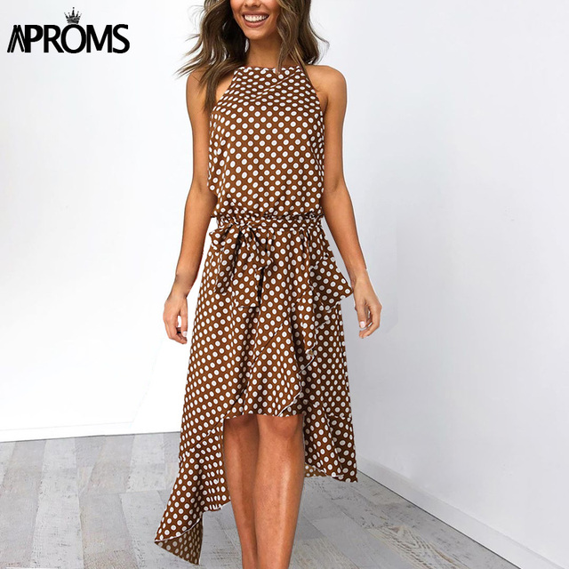 49f7bf836b56 Aproms Vintage Polka Dot Print Summer Midi Dress Women Elegant Sash Tie Up  Loose Dresses Female Streetwear Sundresses 2019
