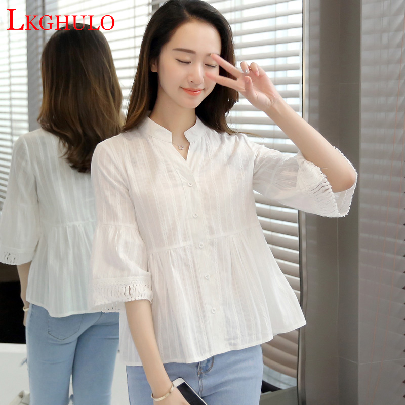 Korea Style Women Blouse Shirts 2018 Elegant Women Tops Plus Size Flare Sleeve Solid Casual Loose Shirt blusas Feminina A109