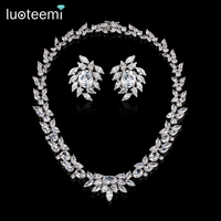 LUOTEEMI Wedding Bridal Jewelry Necklace White Gold Color Luxury Sparkling AAA Cubic Zirconia Women Wedding Accessories
