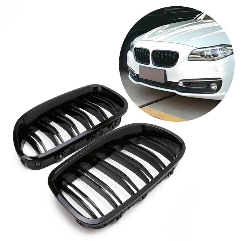 Frete grátis Gloss Black Rim Grill Grelha De Corrida Dupla Linha Para BMW F10 F11 F18 5 Série M5
