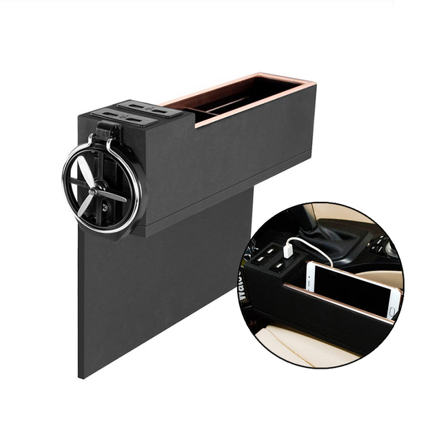 Bag Chair Car Pocket Organizer with Cup Holder 4 USB Charger Caddy ...