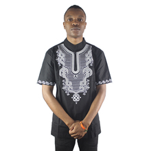 Black Tree Vine Embroidered Men`s African Ethnic Tops Summer Wearing Tunic Shirts