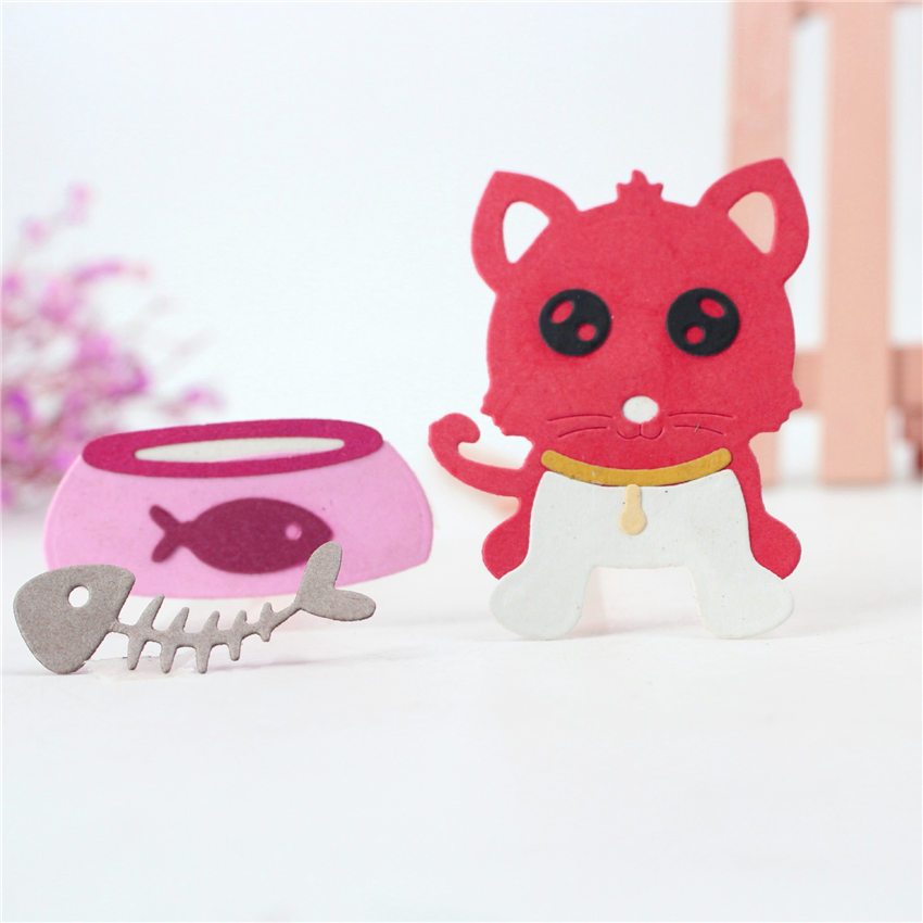 Metal craft The fish tank cat puzzle paper cut Die Cutting dies Embossing mould DIY Scrapbooking party album cards