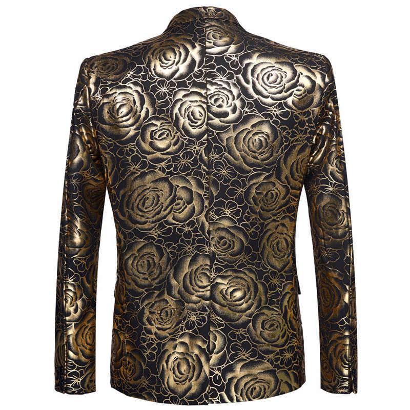 Золотой Розовый бронзированный пиджак на одной пуговице, пиджак для мужчин, приталенный свадебный смокинг, мужской костюм пиджак, Клубная сценическая одежда для певцов