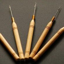 48 штук в партии, микро-кольцо для наращивания волос бамбуковая рукоятка для натягивания иглы Threader перо крючок