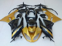 Free customize Fairing kits for Kawasaki ZX 6R 2009 2010 2011 2012 NINJA zx6r 09 12 gloden black ABS fairings set VB8