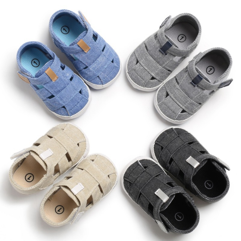 Summer Boy Casual Cotton Hollow Design Shoes Breathable Anti-slip Soft Sole Sandals First Walkers