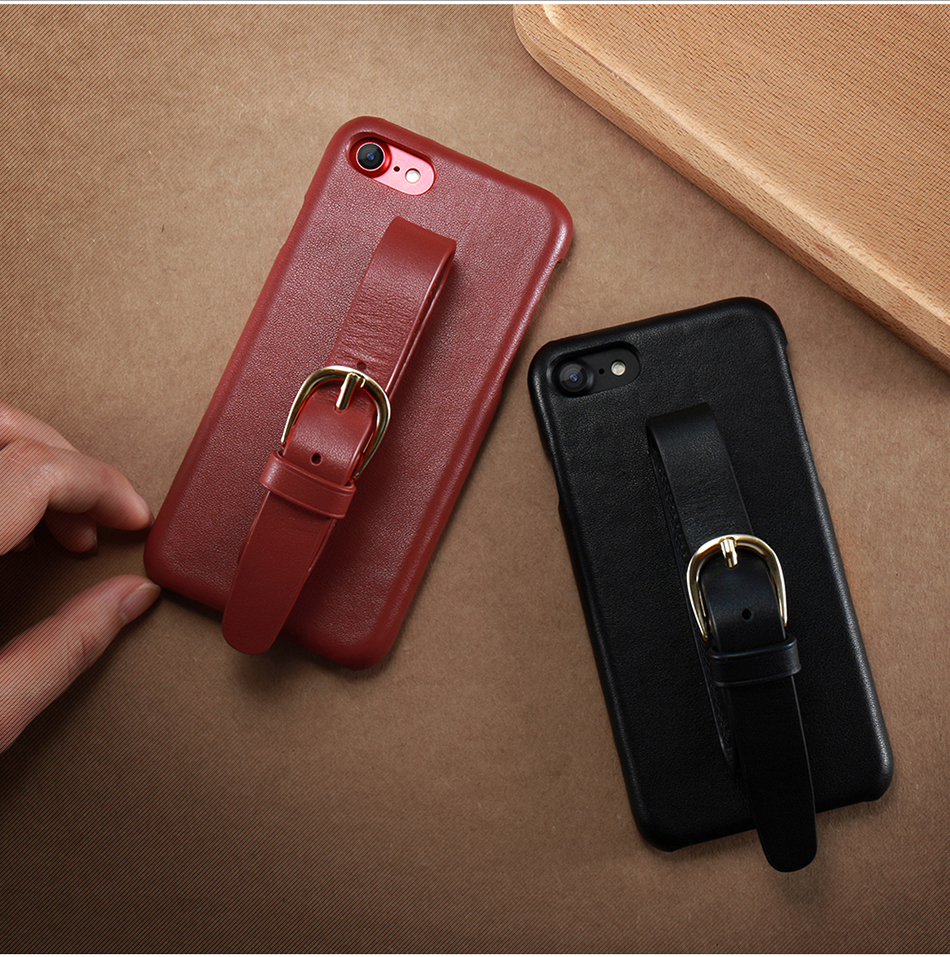 CASESHIP Genuine Leather Case For iPhone 6 6S 7 7 Plus Cover Smooth Touch Cowhide Wristband Back Cover For iPhone 6 7 Holsters (9)