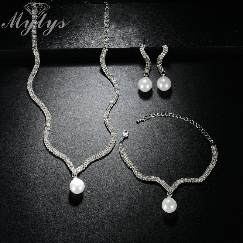 Mytys Geometric Tennis Chain Crystal Drop Pearl Jewelry Sets Silver Color For Women Wedding Bridal Ball Party Accessory CN327