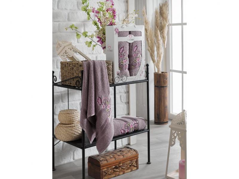 Towel set TWO DOLPHINS, Isabella, 2 subject, aubergine two tone handle eye brush set 3pcs