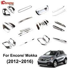 Buick Encore için/Opel/Vauxhall Mokka 2013 2014 2015 2016 krom dış sis lambası kapı pencere ayar kapağı dekorasyon araba Styling