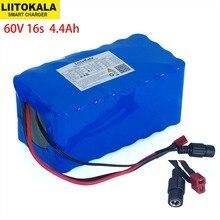 Liitokala 60v 16s2p 67.2v 4.4a 18650 bateria li ion 4400mah ebike scooter elétrico da bicicleta com descarga 20a bms 1000watt