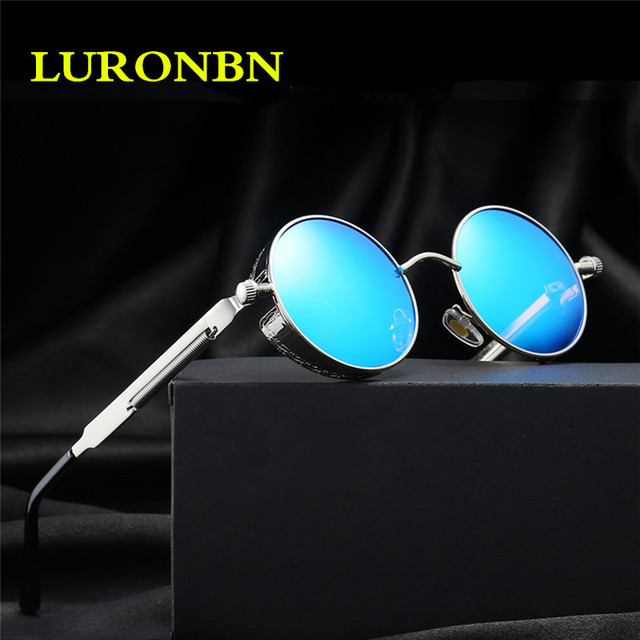 2017 luxury brand Steampunk Men's Polarized Sunglasses Mirror Coating Sunglasses Round Circle Sunglasses Retro Vintage Gafas sol