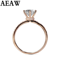Real 18K 750 Rose White Gold DF VVS1 Round Cut 1ct 3ct Moissanite Engagement Ring Lab Grown Diamond Ring Fine Jewelry For Women