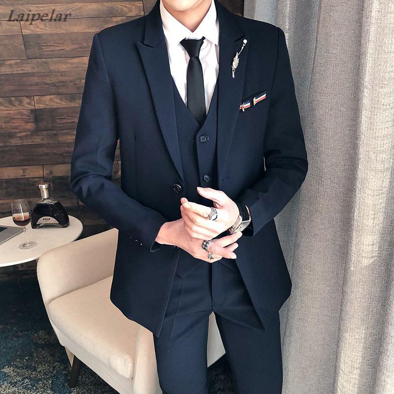Suit men's three pieces sets / 2018 autumn winter business dress wedding dress blazers jacket coat pants trousers vest waistcoat