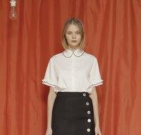 Elandend Style Fashion Womens Short-sleeved Shirt Frill Collar White Blouse Cute Blue 2017 Summer New