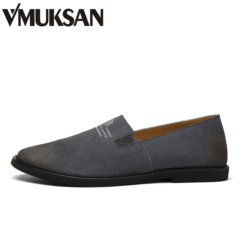 VMUKSAN Fashion Mens Casual Shoes Handmade Suede Leather Shoes For Mens Slip On Men Loafers Driving Shoes dxkzmcm genuine leather fashion mens casual shoes cowhide driving moccasins handmade slip on loafers
