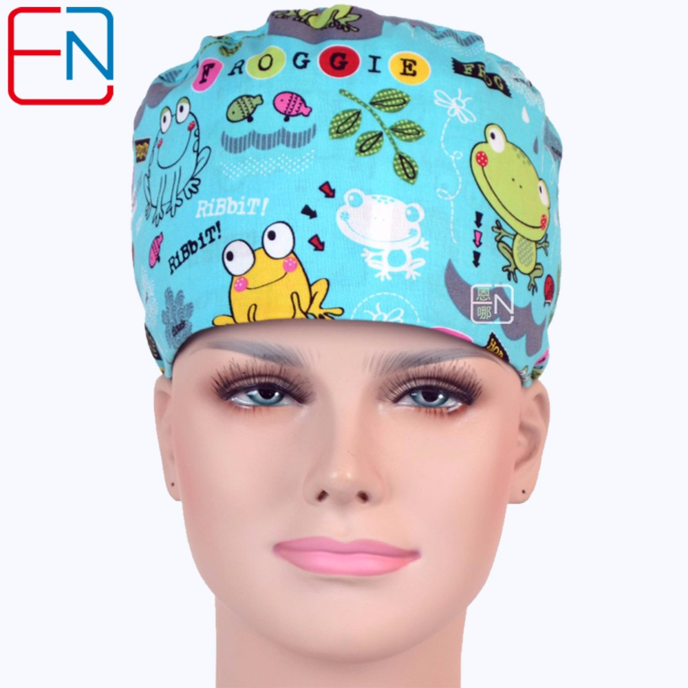 NEW!! Surgical Caps,high Quality Facric Froggie Pattern Medical Caps With Sweatband