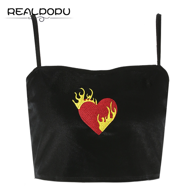 394a76bbad3 Realpopu Velvet Embroidery Sleeveless Tank Top Women Cropped Breathable Sexy  Tight Straps Vest Fashion Fitness Black Crop Tops free shipping worldwide