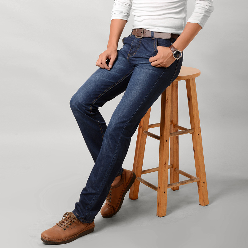 Mens brand jeans mens thin stretch retro retro jeans summer mens jeans business casual traveler solid color jeans plus