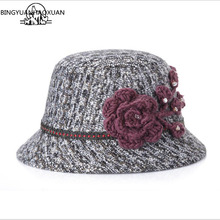 BINGYUANHAOXUAN Womens 2018 Winter Bucket Hat Wool Flower Decoration Fashion Mix Color
