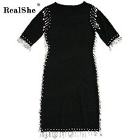 RealShe New 2017 Women Summer Autumn Sexy Slim Dress Fashion Elegent Black Dress Vestidos Peals Decoration