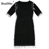 RealShe New 2017 Women Summer Autumn Sexy Slim Dress Fashion Elegent Black Dress Vestidos Peals Decoration