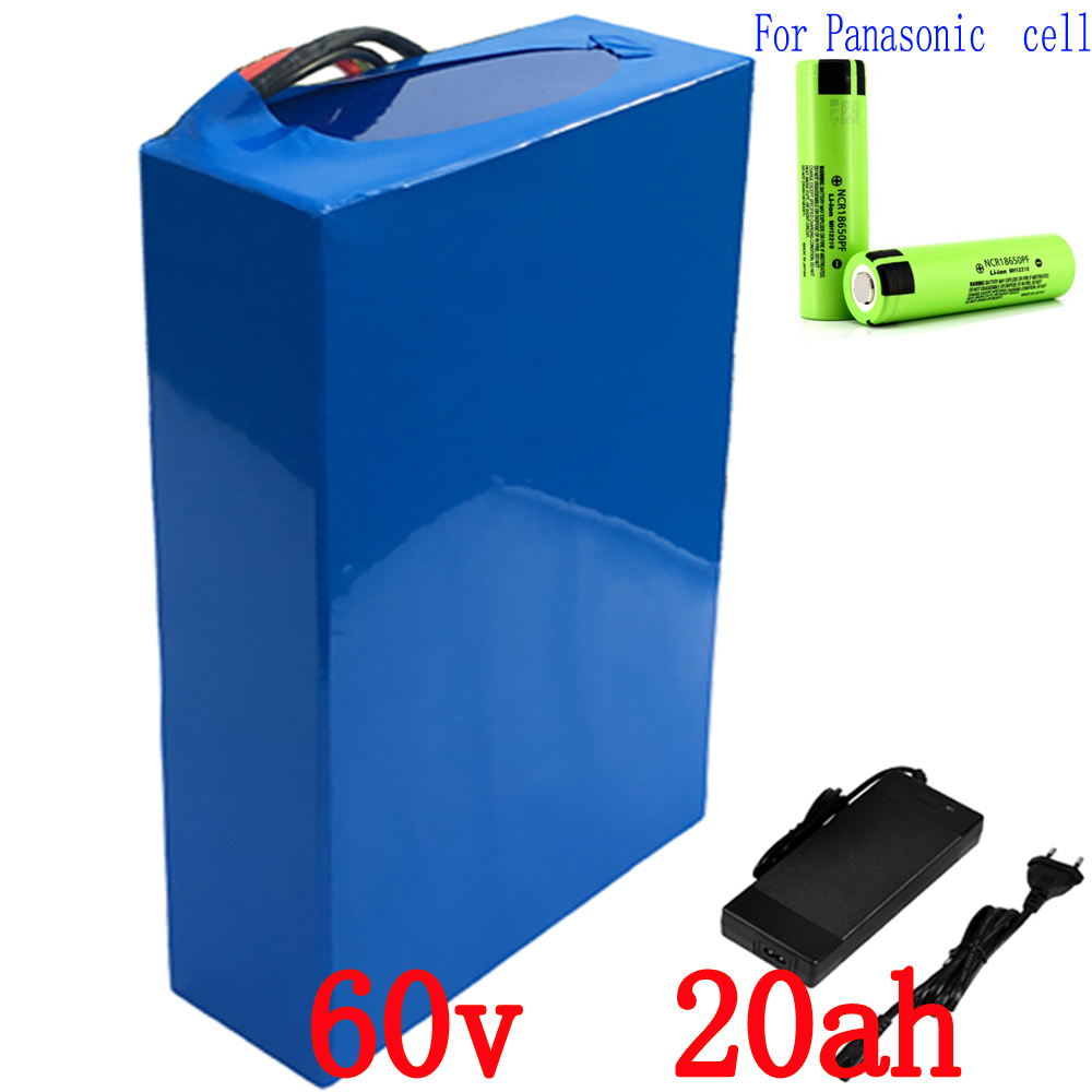 Free customs duty 3000W 60V 20AH Lithium battery 60V 20.3AH electric bicycle battery use for Panasonic 2900mah cell 50A BMS free customs taxes electric bike 36v 40ah lithium ion battery pack for 36v 8fun bafang 750w 1000w moto for panasonic cell