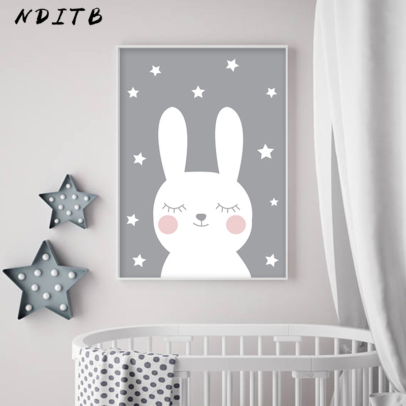 HTB1QKumXdfvK1RjSspoq6zfNpXaf NDITB Rabbit Heart Nursery Wall Art Canvas Painting Cartoon Posters and Prints Decorative Picture Nordic Style Kids Decoration