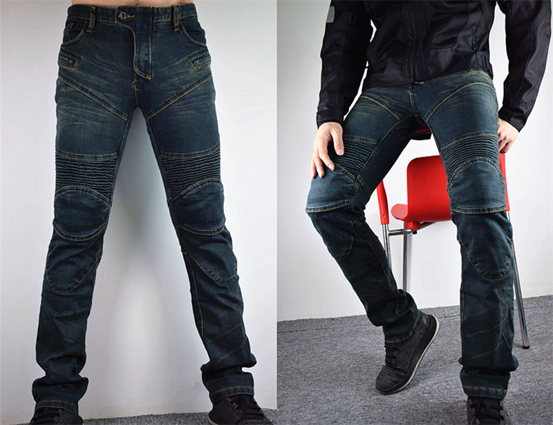 PK-718 Motorcycle Jeans Men Slim Denim Motorcycle Racing Trousers Motocross Off-road Hockey Pants with CE Protectors Blue drizzte men s jeans classic stretch blue denim business dress straight slim jeans size 34 35 36 38 pants trousers jean for men