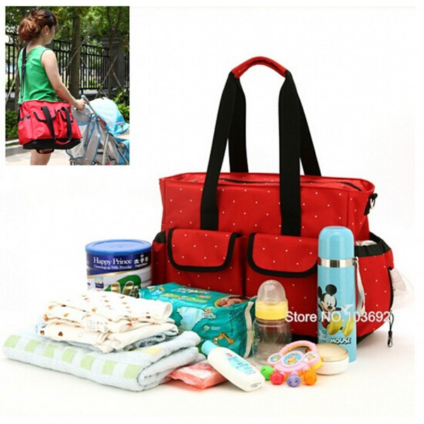 High quality cute dot baby diaper nappy bag maternity baby bags for mom multifunctional mother care bag durable stroller bag