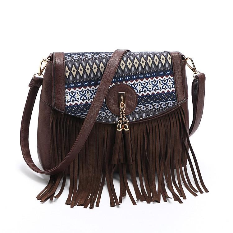 Druckblume Pu-leder Frauen Messenger Bags Vintage Quaste Schulter - Handtaschen