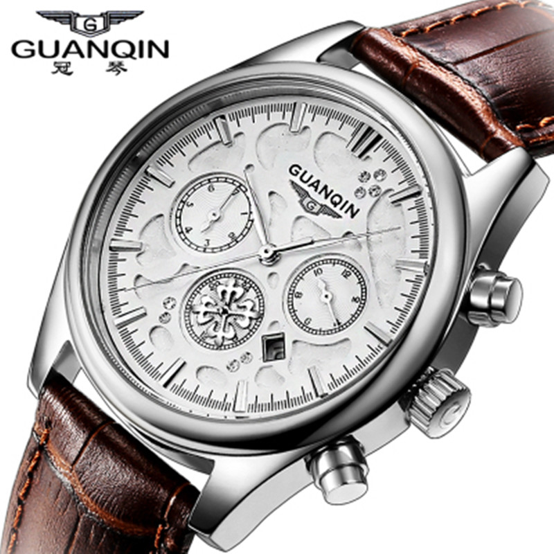 Fashion Men Watch Top Brand Luxury Original GUANQIN Quartz Watch Waterproof Leather Watch Male Wristwatches Relogio Masculino girl dress new 2017 summer lace flower patchwork mesh princess girl s dresses kids clothes costumes for girls clothing gdr008