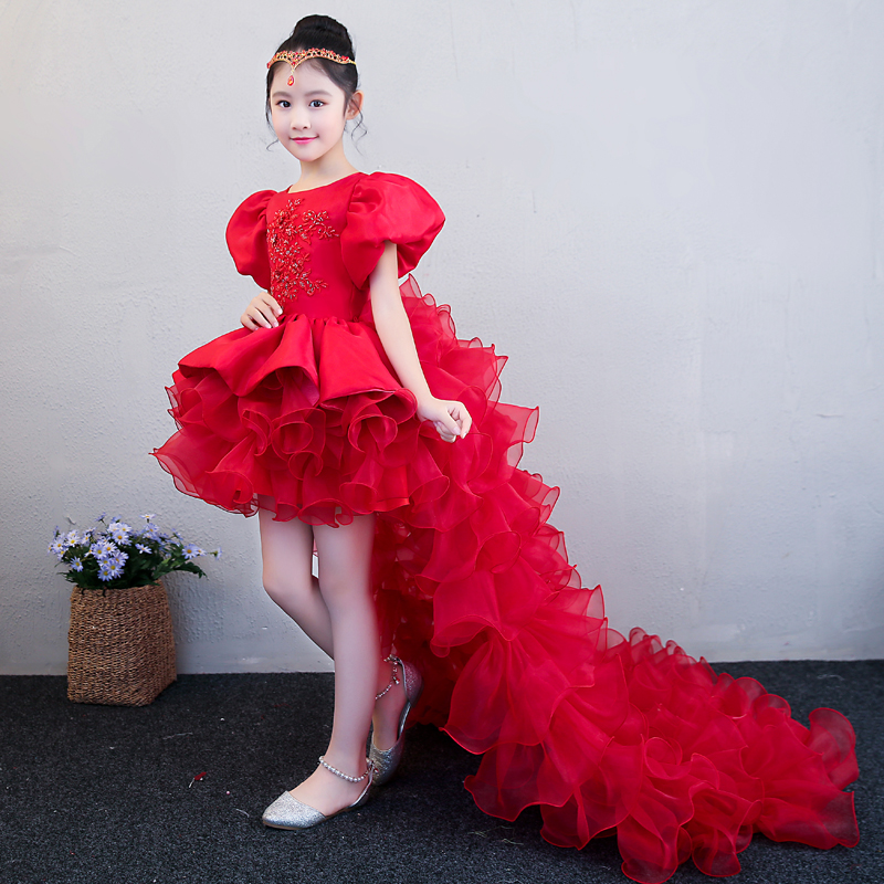 5360474a7f9bb Luxury Red Flower Girl Dress Wedding Birthday Party Dresses For Girls Kids  Prom Gowns Beading Ball Gown Children Party Dress A34