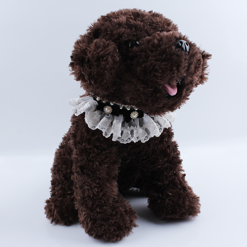 HRK dreams Store 1 Piece Pet Neckerchief Dogs And Cats Princess Style Pearl With Rhinestone Lace Trim Bowknot Tie Pets Party Decorative Scarfs