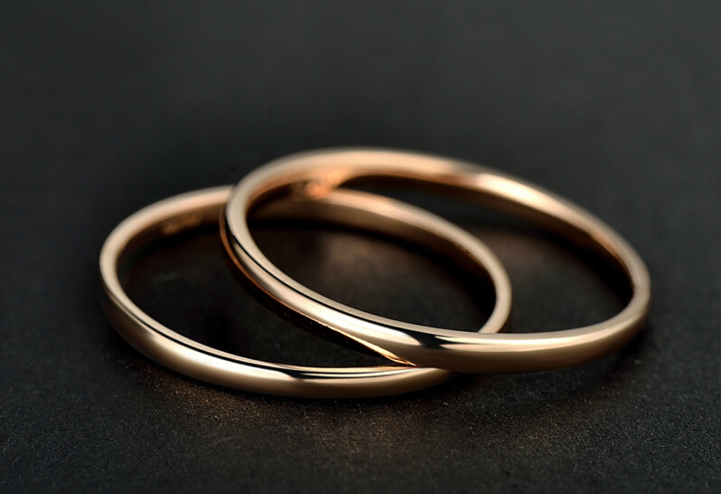 AU750 Rose gold Smooth Band Ring US SIZE 5 au750 rose gold ring lady d ring size 6