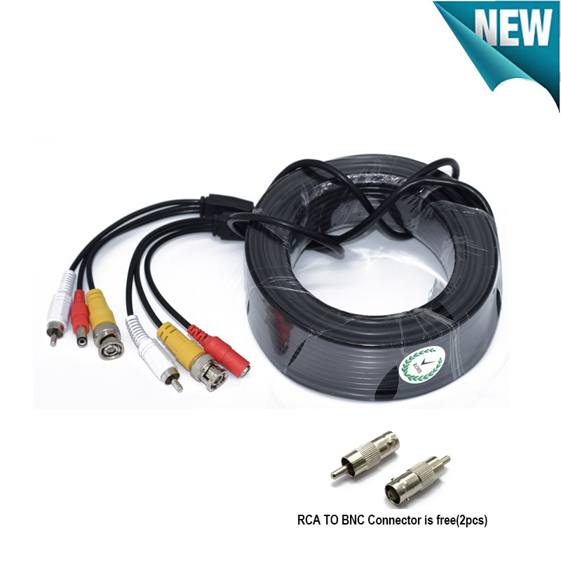 New BNC+RCA+DC connector 3 in 1 cable Power Video Audio extension Plug and Play Cable Wire for CCTV Security Camera DVR System stage light led power cable plug neutrik type powercon nac3fca nac3fcb 3 pin professional audio power plug connector