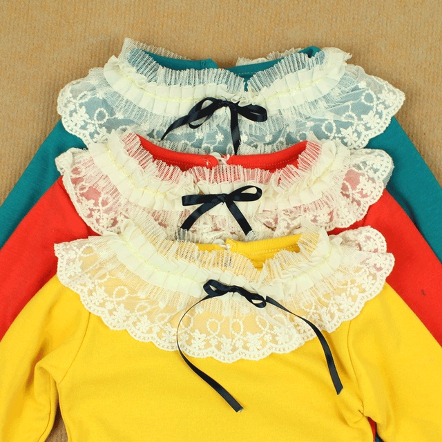 2013 spring lace bow round neck laciness T-shirt 100% cotton long-sleeve basic shirt girls clothing