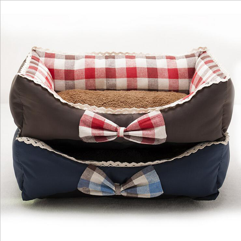 Fashion Rectangle Bowknot Plaid Side Dog Bed Soft Warm Pet Kennel Breathable Dog Cushion Mat 2 Colors Size S M L Cama Perro