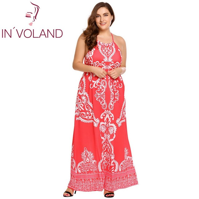 US $29.13 45% OFF|IN\'VOLAND Women Long Dress Plus Size Halter Keyhole  Sleeveless Backless Floral Belted Maxi Dresses Feminino Boho Vestidos  4XL-in ...