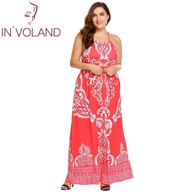 892313d204d IN VOLAND Women Long Dress Plus Size Halter Keyhole Sleeveless Backless  Floral Belted Maxi Dresses Feminino Boho Vestidos 4XL