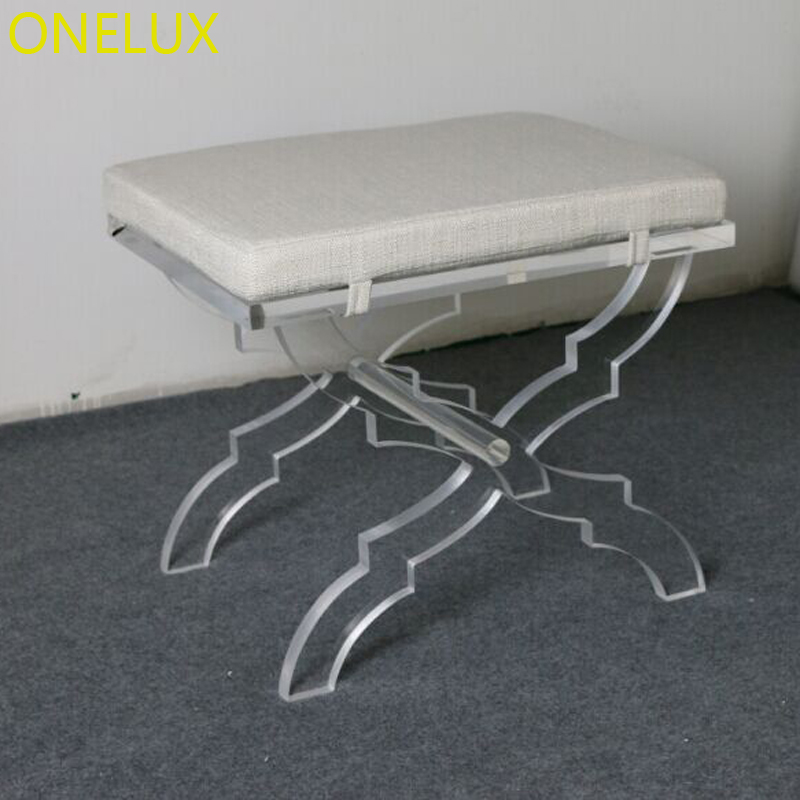 Super Us 672 0 Acrylic X Base Stool Linen Seat Lucite X Leg Vanity Stool Ottomans Bench With Cushion In Stools Ottomans From Furniture On Aliexpress Dailytribune Chair Design For Home Dailytribuneorg