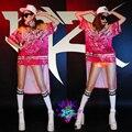 2016 женская Мода Корея Смокинг певица DJ атмосферное 2ne1 Роза хип-хоп ласточкин хвост градиентной сетки кешью цветы костюмы