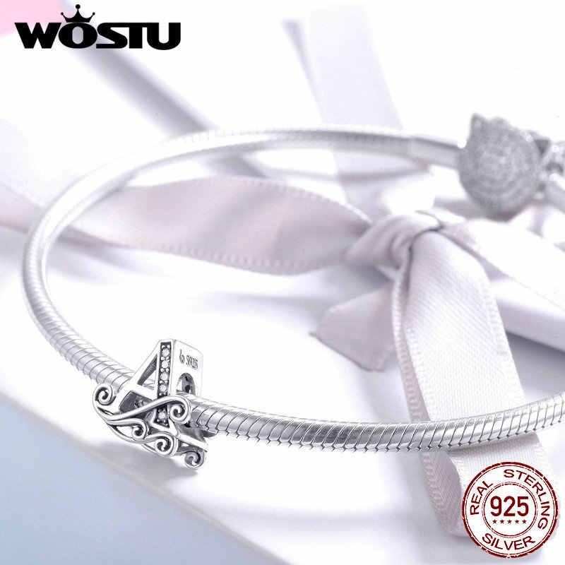 Wostu letras contas 925 prata esterlina alfabeto encantos caber pulseira original pingente diy colar jóias presente para as mulheres fnc030