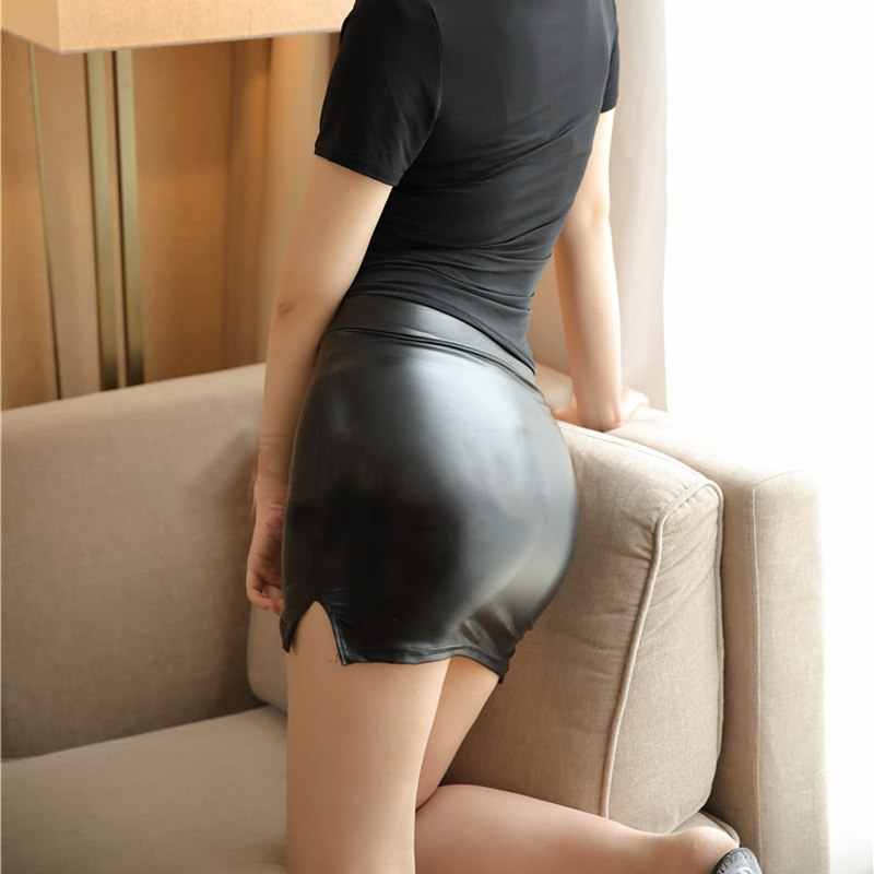 20014b1e9a0ea9 Sexy Women PU Faux Leather Micro MINI Skirt High Waist Shiny OL Tight  Pencil Skirt Wet