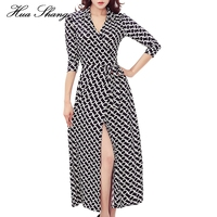 Hua Shang Women Summer Dress V Neck Slim Geometric Print Wrap Dress Split Sexy Long Party