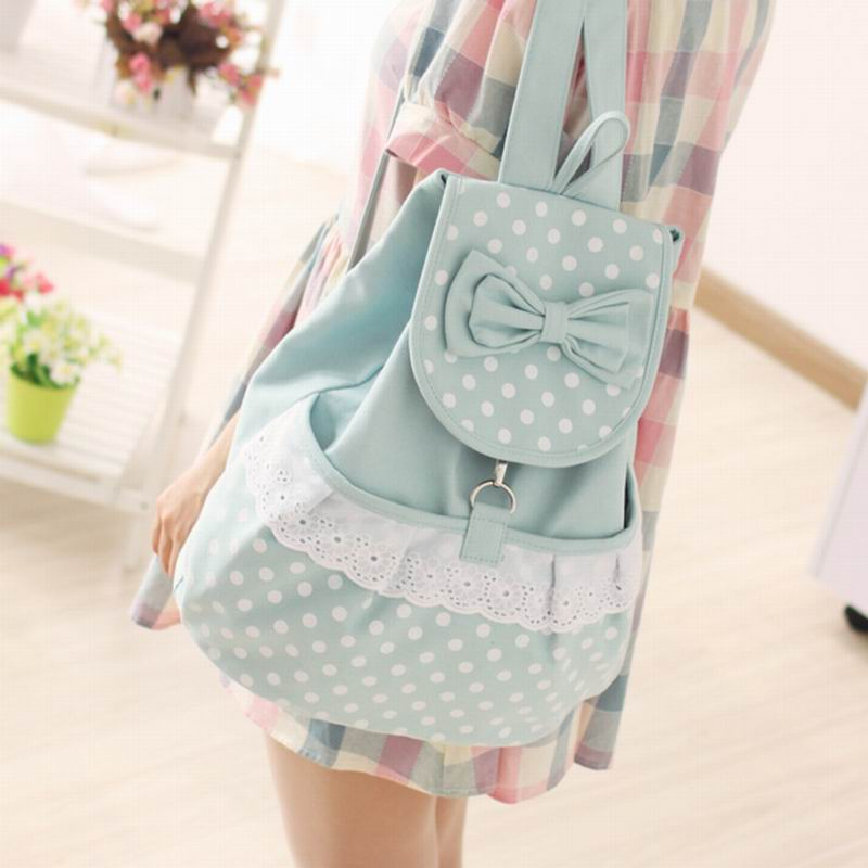 2017 Women Backpacks bow Brand school bag lace canvas Backpack dot printing travel Bags high quality